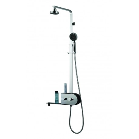 Inox 2 heads features tropical rain and mist shower column