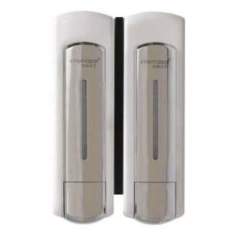 Distributore di sapone doppio e shampoo 2 x 500 ml economico ed ergonomico bianco opaco