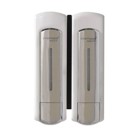 Double soap dispenser and shampoo 2 x 500 ml economical and ergonomic opaque white
