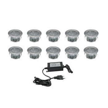 Kit of 10 white recessed spots cold outside (10 x 1W) with transformer