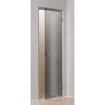 5th [reconditioned] Transparent door for Hammam 60 x 190 cm of tempered glass secure 8mm aluminum frame