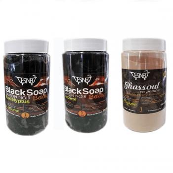 Hammam Body Care Pack: 5 kessa gloves - 1kg of black soap - 1kg with eucalyptus - 1kg of white clay ghassoul