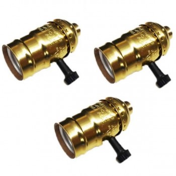 Set of 3 Gold Sockets E27 vintage with rotary switch
