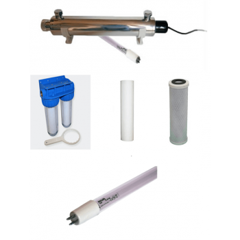 40w sterilizer pack - 1 spare lamp - double filter water filtration - filters