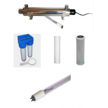 Filtro de agua de doble puerta de paquete de filtración filtro de sedimentos de más de 50 y 20 micras.