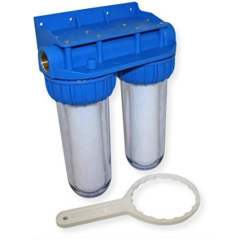 Doppia porta filtro chiaro 10 pollici desineo con montaggio a parete incluso