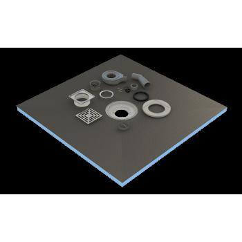 Plato de ducha de 100 x 100 x 4 cm listo para azulejo con sifón + rejilla inoxidable