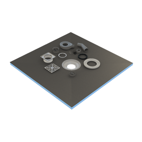 Shower tray 100 x 100 x 4 cm ready to tile with siphon + grid stainless