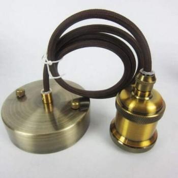 """plafonnier bronze """"antique"""" douille E27 vintage et câble tissé Marron"""