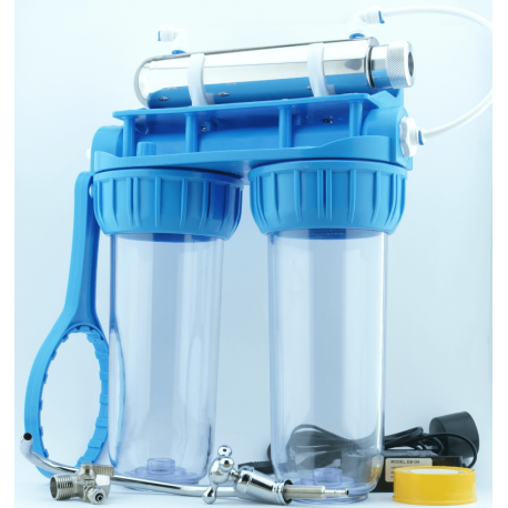 Kit filtration complet stérilisateur uv robinet et double porte filtre fournis