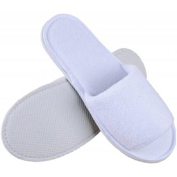 Lot de 10 paires de chaussons éponge jetables ouverts Blancs