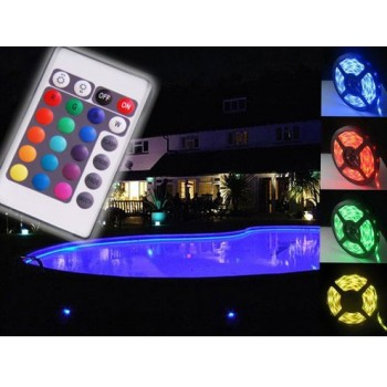 Cinta adhesiva 5 m IP68 RGB LED impermeable con control remoto infrarrojo