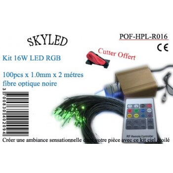 Kit fiber optic RGB 16 W Skyled 100 black fibers