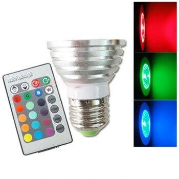 Ampoule E27 à LED Couleurs RGB 3w avec télécommande