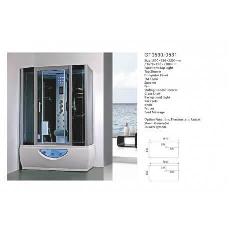 Balneo shower cabin steam room 167 x 85 full options