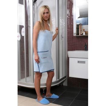 Set di 3 asciugamani in bianco di Sauna con tasca e Velcro 70 x 140 cm cotone 100%