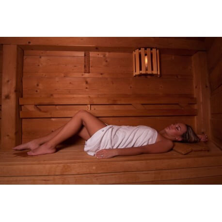 Set of 3 towels in Sauna white with Pocket and Velcro 70 x 140 cm cotton 100%