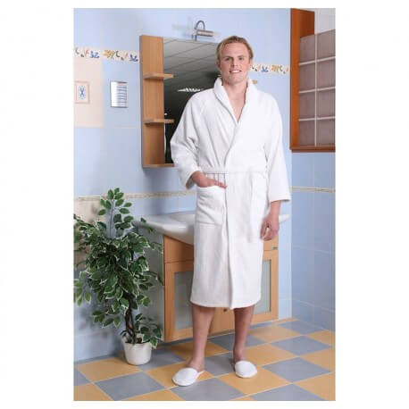 Mixed bathrobe size L 100% cotton 420 gr/m2 white