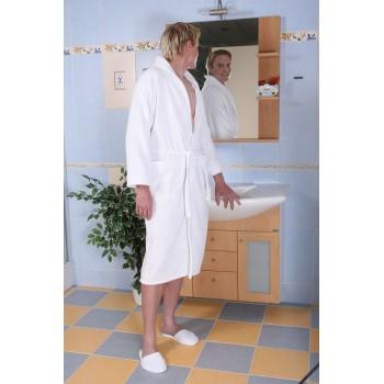 Albornoz mixta tamaño XL 100% algodón 420 blanco