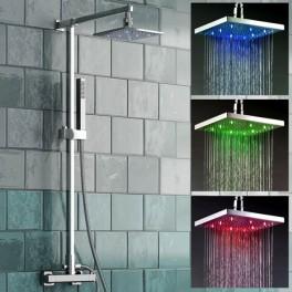 pommeau de douche carr 3 couleurs led en fonctions de la temp rature plomberie sanitaire. Black Bedroom Furniture Sets. Home Design Ideas