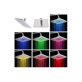 Pommeau de douche carré 7 couleurs à LED