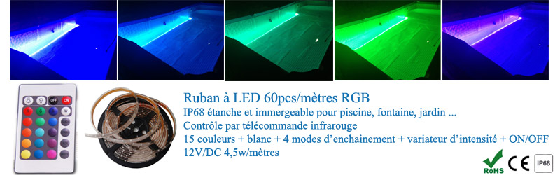ruban led rgb 5m ip68 tanche et immergeable avc t l commande ir. Black Bedroom Furniture Sets. Home Design Ideas