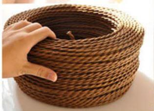 Fil lectrique tress marron vintage look retro en tissu electricit - Fil electrique marron ...