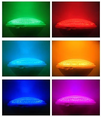 Ampoule de piscine par56 18x3 w led avec t l commande for Ampoule projecteur piscine